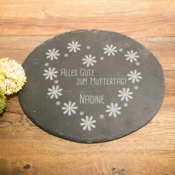 Runde Schieferplatte mit Wunschmotiv zum Muttertag