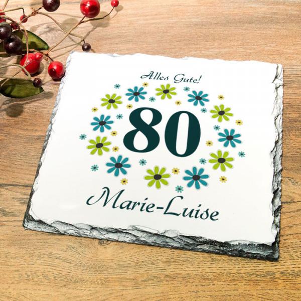 Platte aus Granit mit Wunschmotiv zum 80.