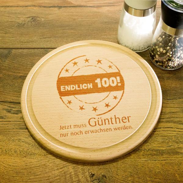 Rundes personalisiertes Frühstücksbrett aus Holz zum 100.