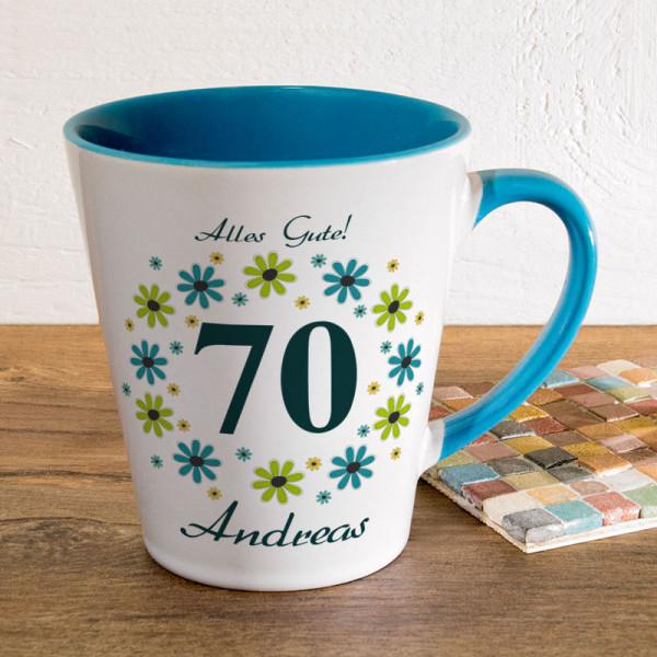 Tasse FUNNY Latte klein mit Wunschmotiv zum 70.