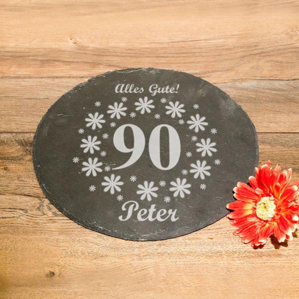 Runde Schieferplatte mit Wunschmotiv zum 90.