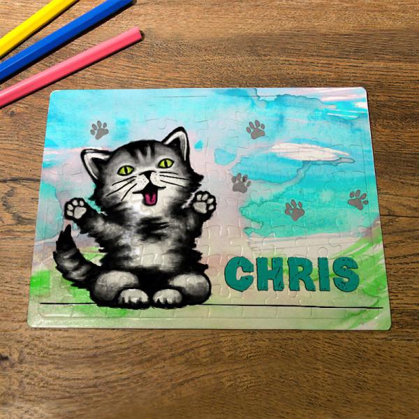 Puzzle im DIN A5-Format mit Kätzchen für Kinder