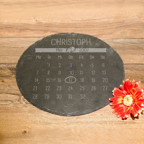 Große runde Schieferplatte mit Kalender zum Vatertag