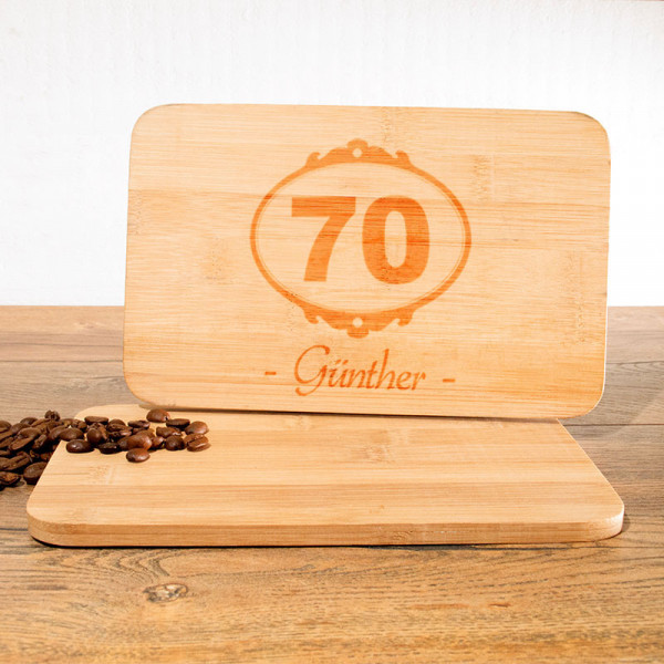 Frühstücksbrettchen mit Wunschmotiv zum 70.