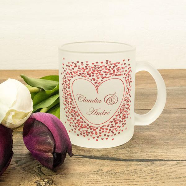 Glastasse satiniert mit Ihrem Wunschmotiv zur Hochzeit