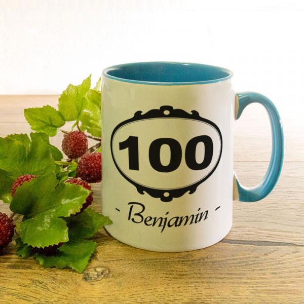 Tasse mit Wunschmotiv zum 100.