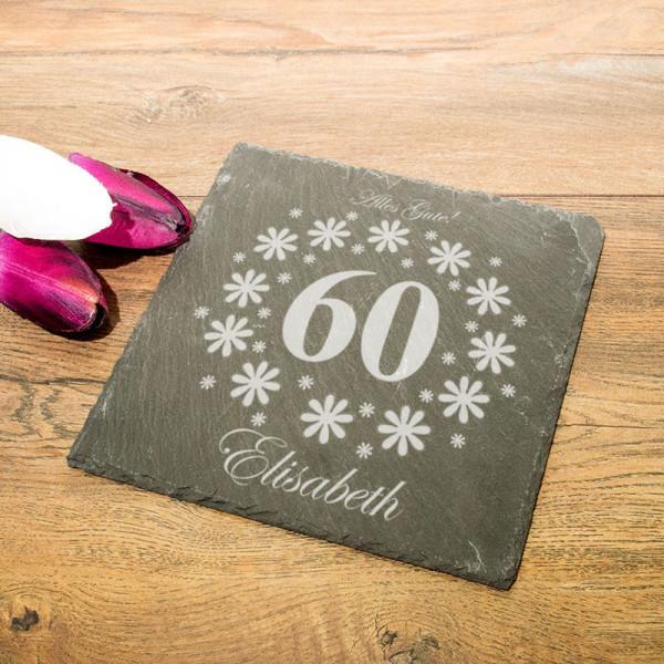 Personalisierte eckicke Schieferplatte zum 60.