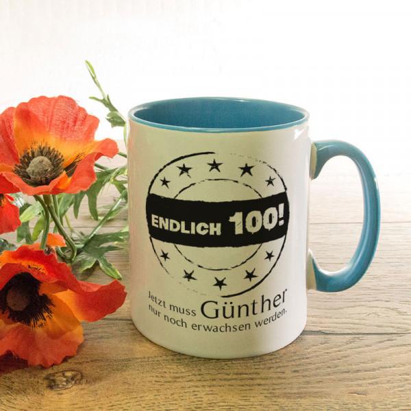 Personalisierte Tasse zum 100.