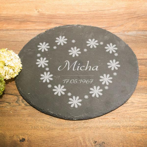 Personalisierte runde Schieferplatte für Männer