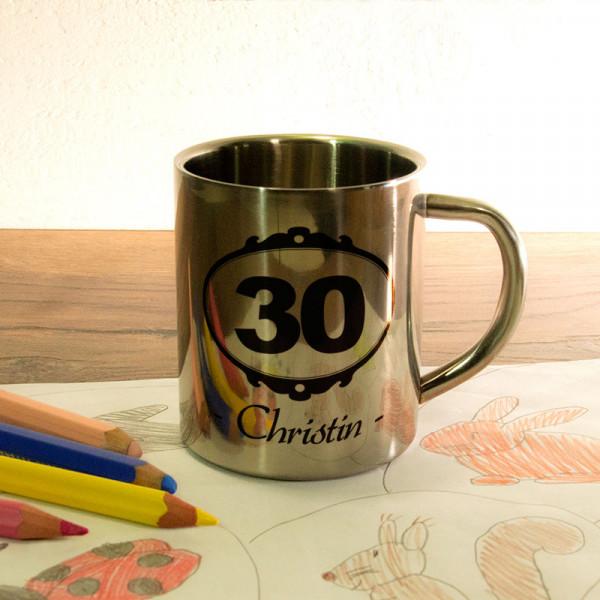 Fototasse aus Edelstahl mit Wunschmotiv zum 30.