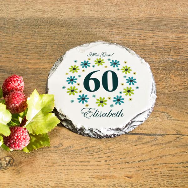 Runder Tassenuntersetzer aus Granit mit Wunschmotiv zum 60.