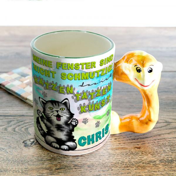 Tasse mit Tierformhenkel bedruckt mit Kätzchen für Kinder
