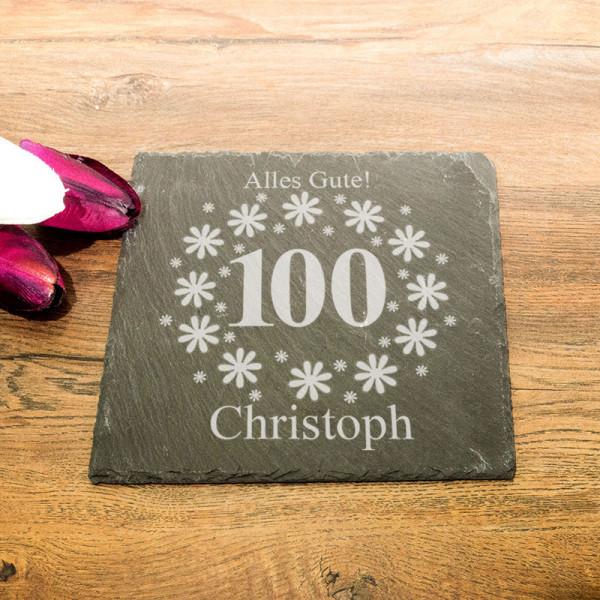 Personalisierte eckicke Schieferplatte zum 100.