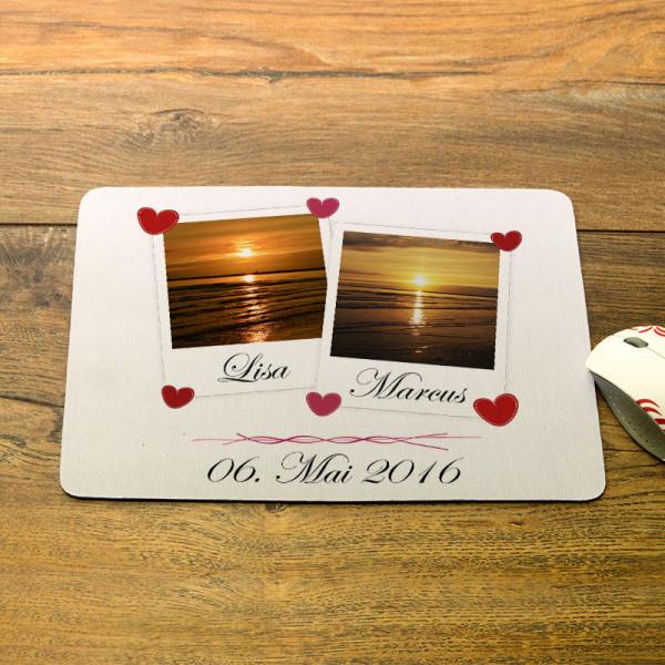 Mousepad mit Fotos und Namen zur Hochzeit