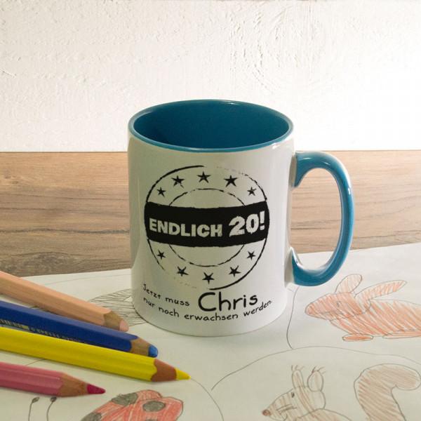 Tasse mit Wunschmotiv zum 20.