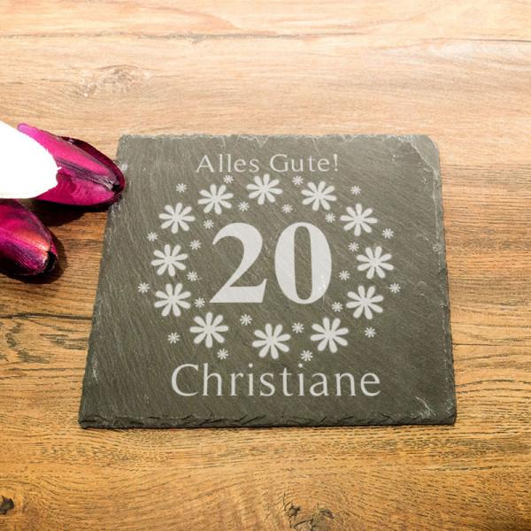 Personalisierte eckicke Schieferplatte zum 20.