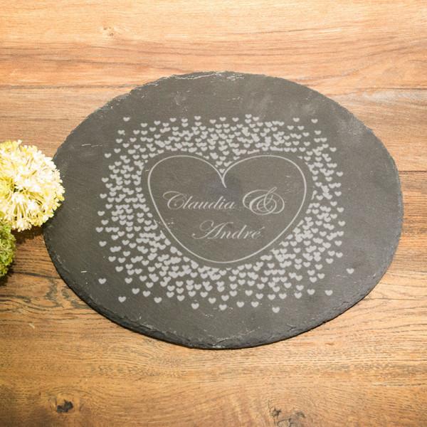 Runde Schieferplatte mit Gravur Anlass/Liebe