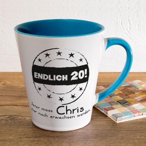 Personalisierte Tasse FUNNY Latte klein zum 20.