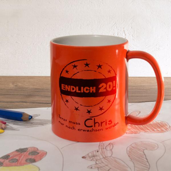 Personalisierte orange Zaubertasse zum 20.