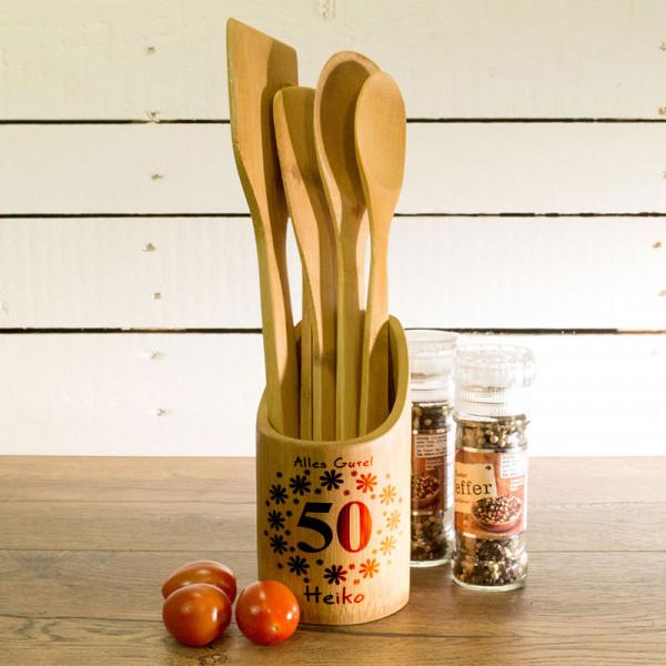 Küchenhelfer Set aus Holz mit Wunschmotiv zum 50.