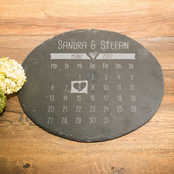 Personalisierte Runde Schieferplatte zur Hochzeit