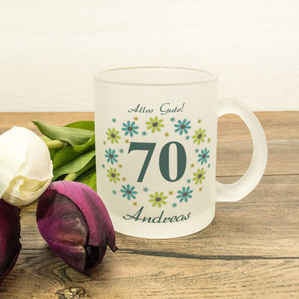Glastasse satiniert mit Wunschmotiv zum 70.