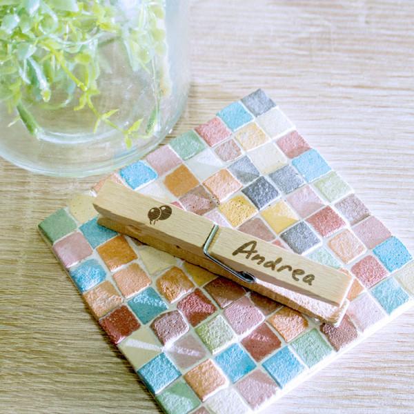 Wäscheklammer aus Holz mit Wunschmotiv zum Geburtstag