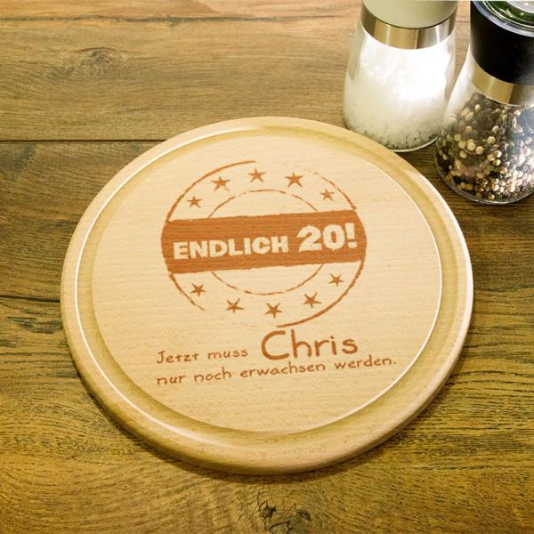 Rundes personalisiertes Frühstücksbrett aus Holz zum 20.
