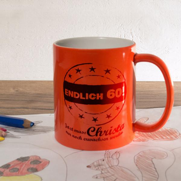 Personalisierte orange Zaubertasse zum 60.