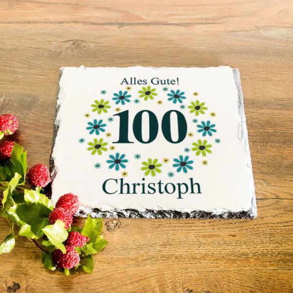 Platte aus Granit mit Wunschmotiv zum 100.