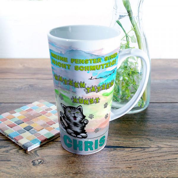 Große Tasse Latte mit Katzentatzen für Kinder