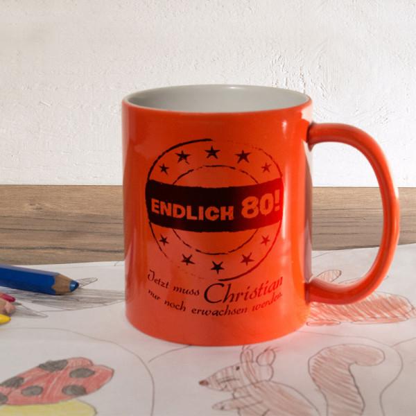 Personalisierte orange Zaubertasse zum 80.
