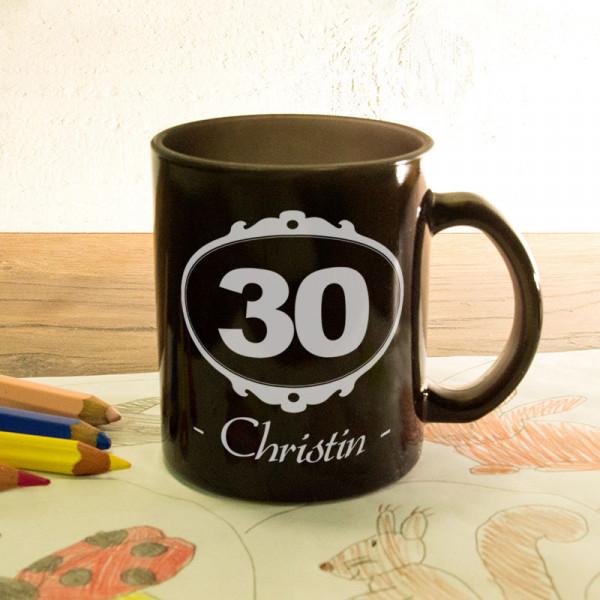 Glas Zaubertasse satiniert mit Wunschmotiv zum 30.