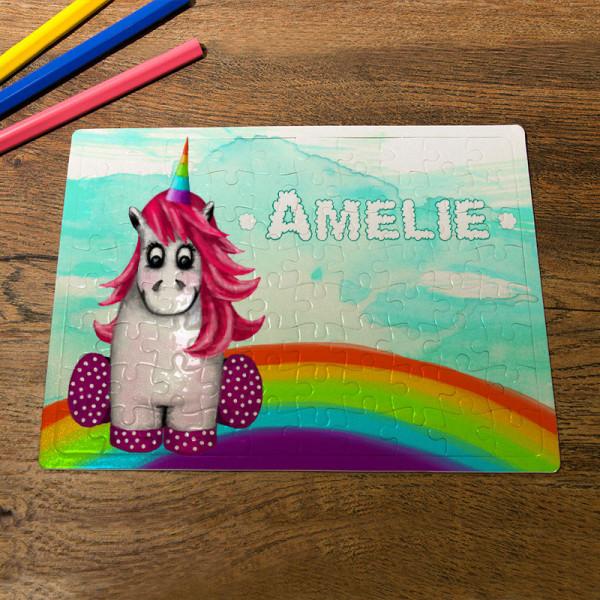 Personalisiertes Puzzle DIN A5 mit süßem Einhorn für Kinder