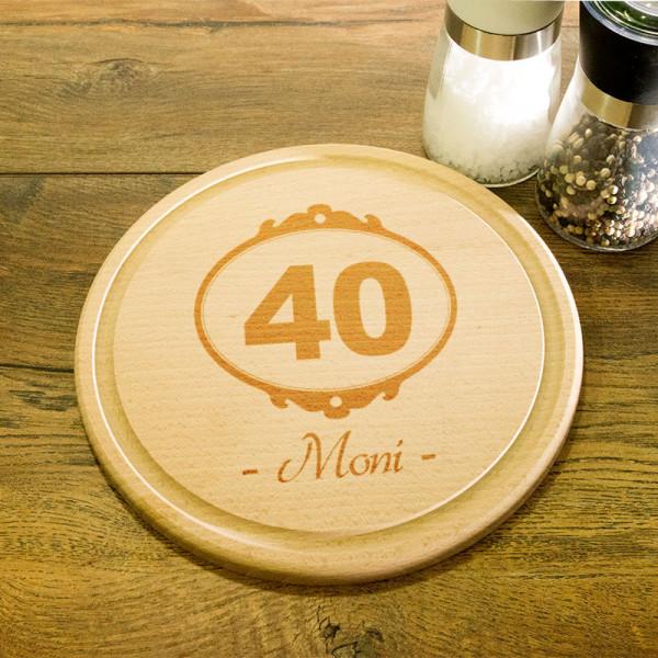 Rundes personalisiertes Frühstücksbrett aus Holz zum 40.