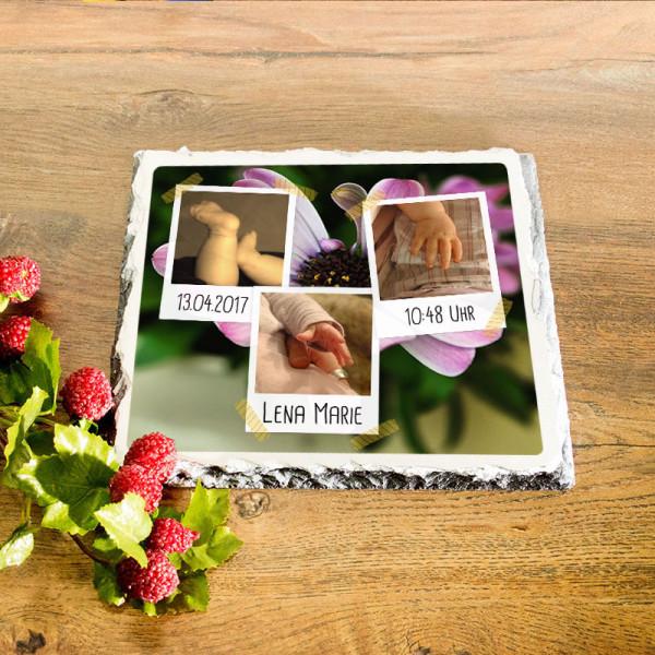 Platte aus Granit mit Wunschfotos und Daten für Kinder
