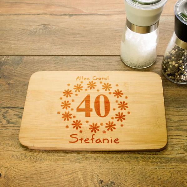 Frühstücksbrettchen mit Wunschmotiv zum 40.