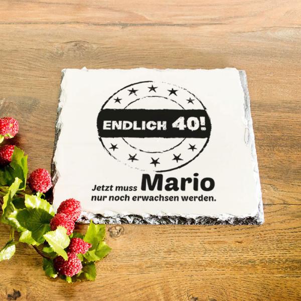 Platte aus Granit mit Wunschmotiv zum 40.