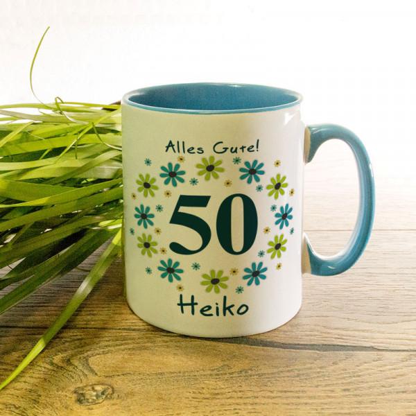 Tasse mit Wunschmotiv zum 50.