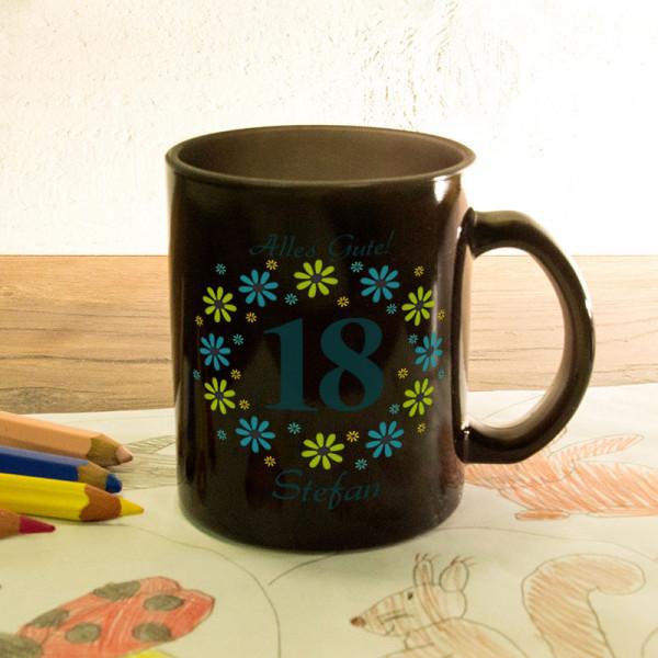 Glas Zaubertasse satiniert mit Wunschmotiv zum 18.