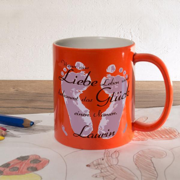 Personalisierte orange Zaubertasse zur Geburt