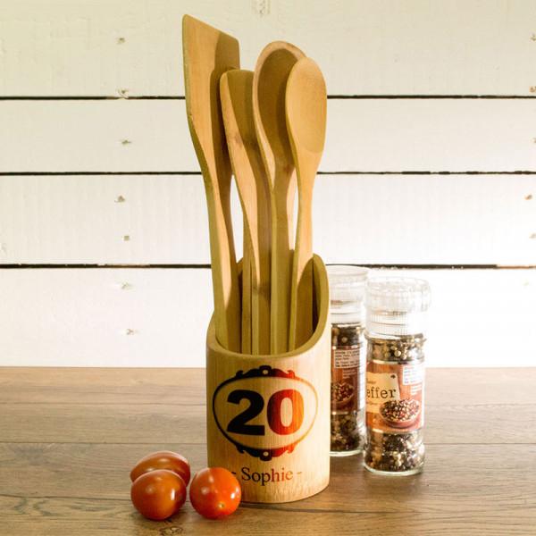 Küchenhelfer Set aus Holz mit Wunschmotiv zum 20.