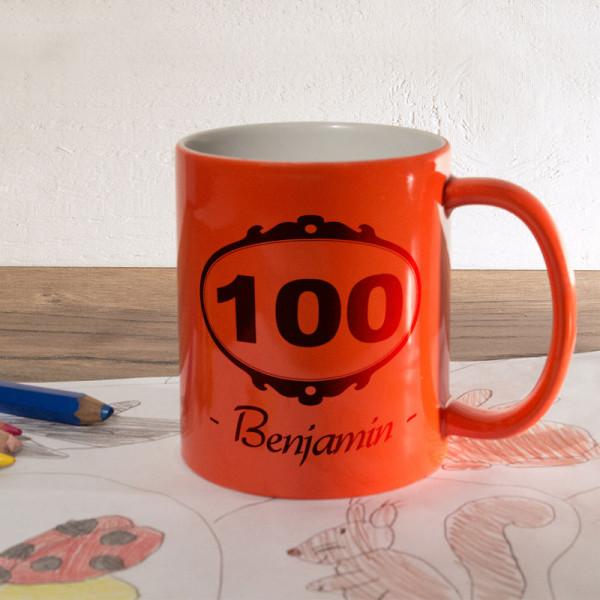 Orange Zaubertasse mit Wunschmotiv zum 100.