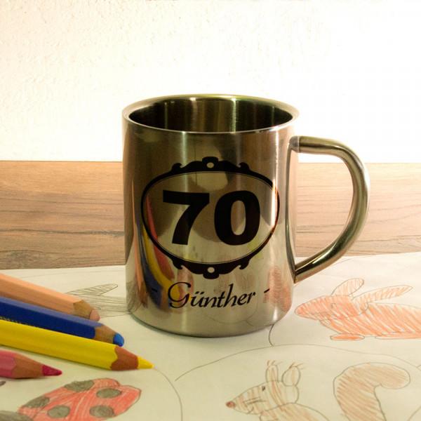 Personalisierte Fototasse aus Edelstahl zum 70.