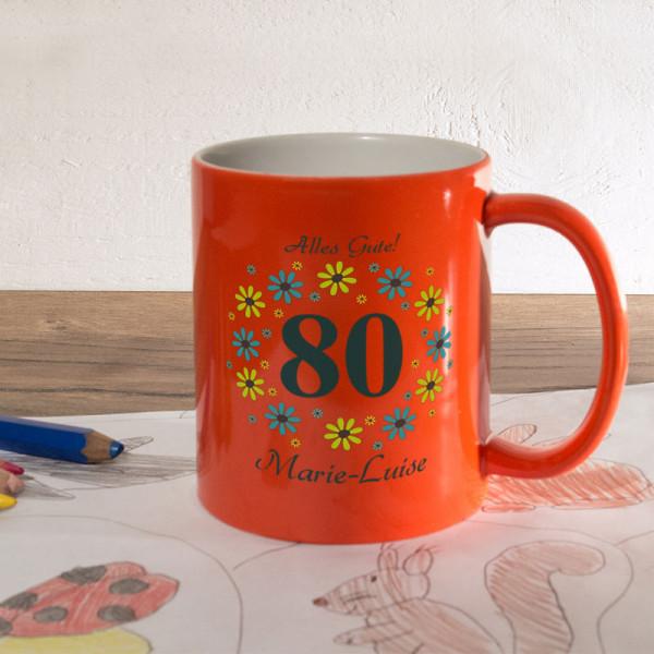 Orange Zaubertasse mit Wunschmotiv zum 80.