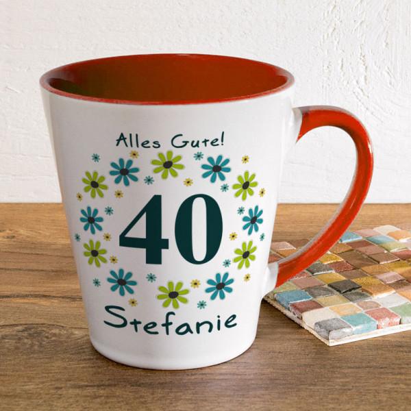 Tasse FUNNY Latte klein mit Wunschmotiv zum 40.