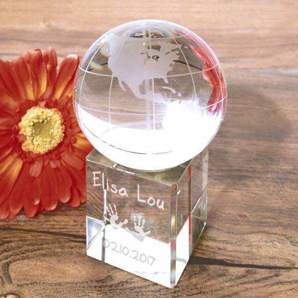 Glas Globus mit Gravur auf Glassockel für Kinder