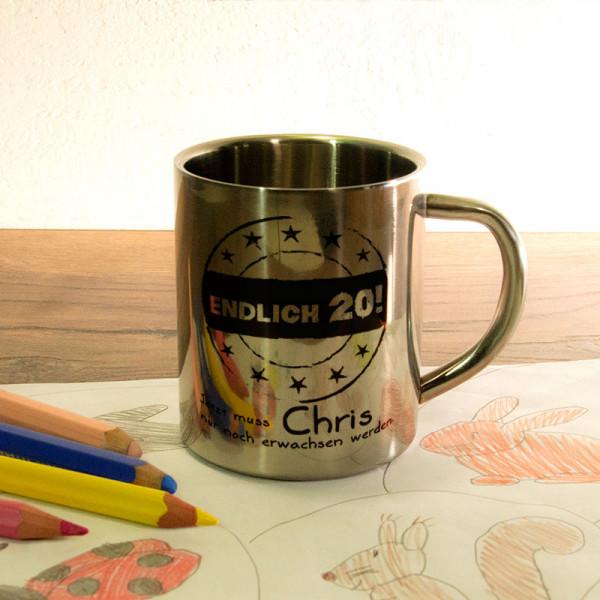 Fototasse aus Edelstahl mit Wunschmotiv zum 20.