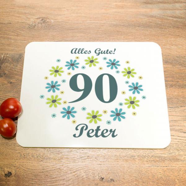 Personalisiertes Schneidebrett aus Glas zum 90.