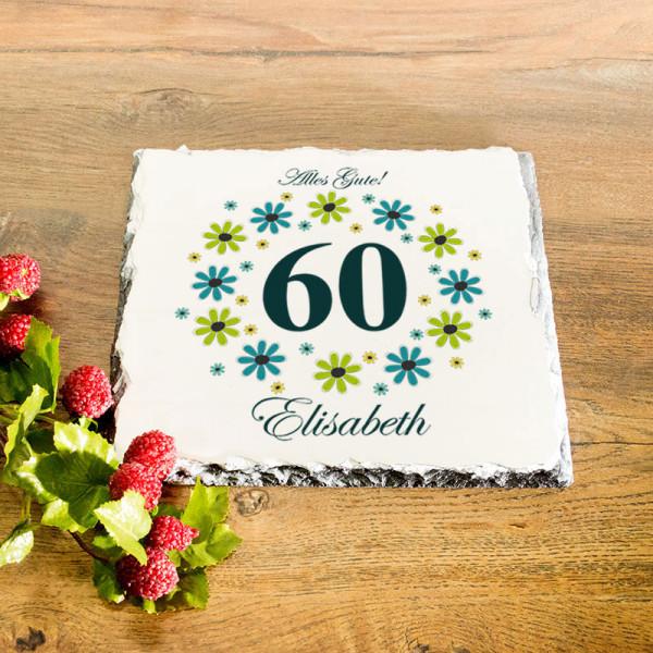 Platte aus Granit mit Wunschmotiv zum 60.